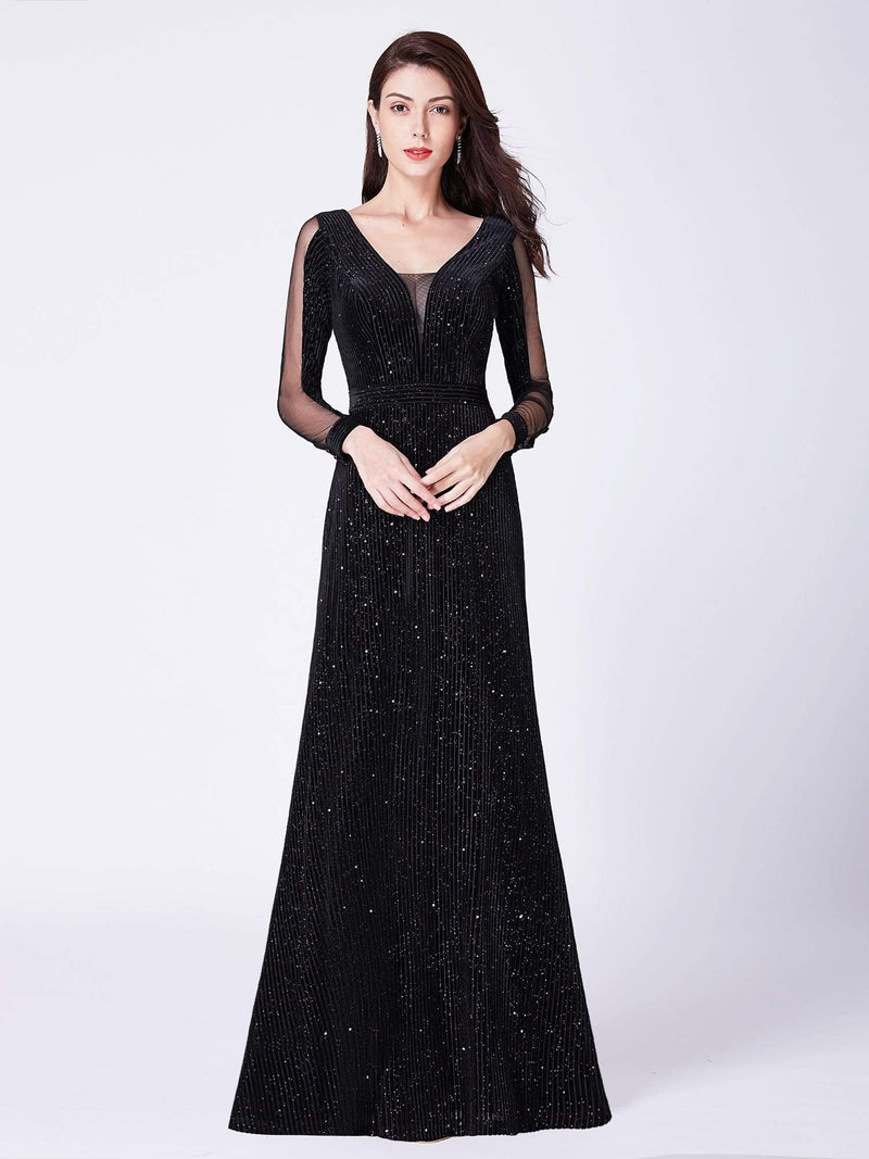 Shimmery Evening Dress With Long Sleeves-Black 1