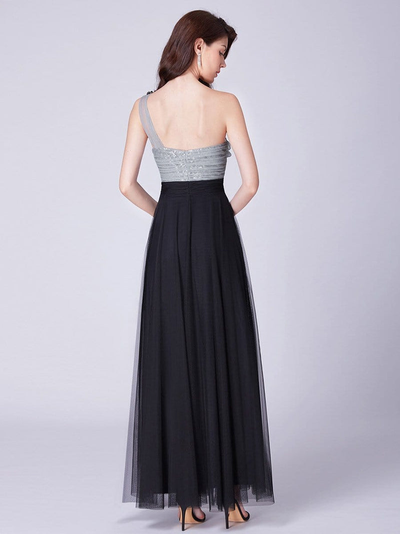 Long One Shoulder Tulle Party Dress-Black 2