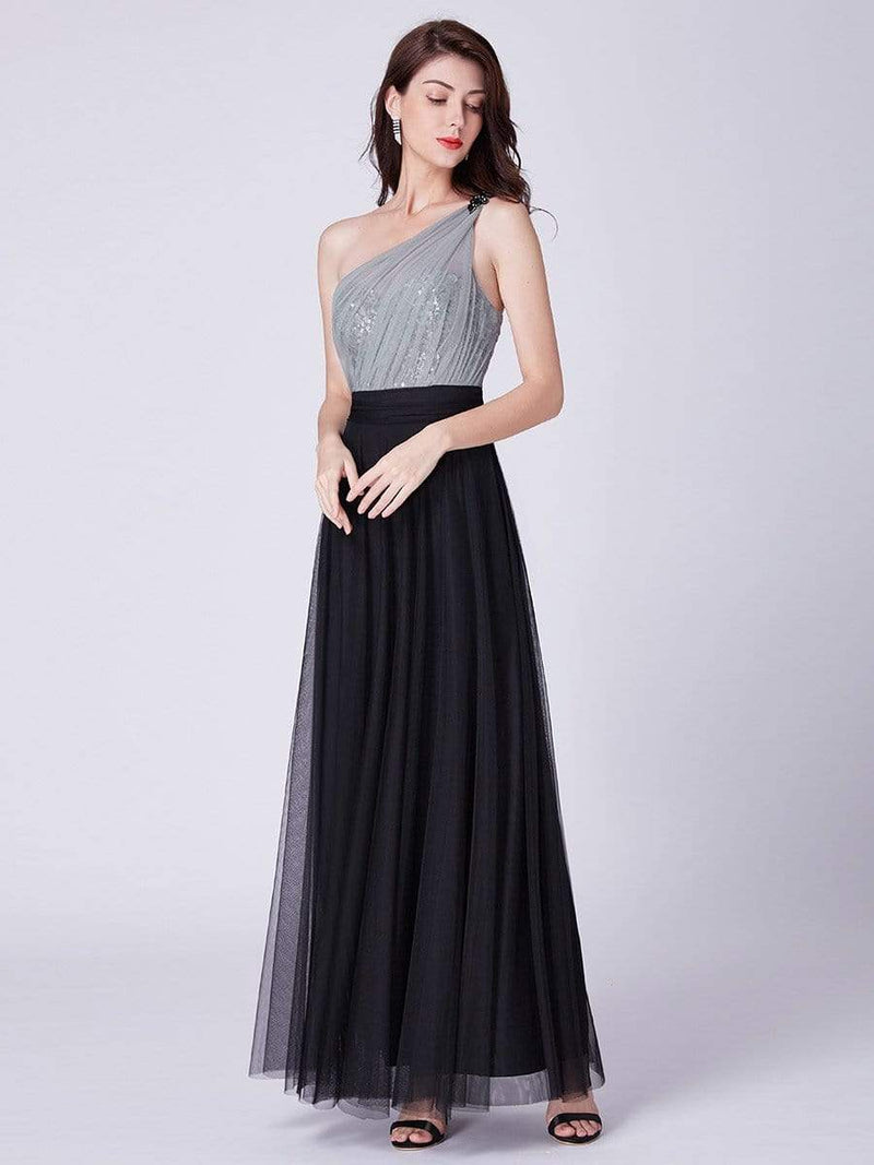 Long One Shoulder Tulle Party Dress-Black 3