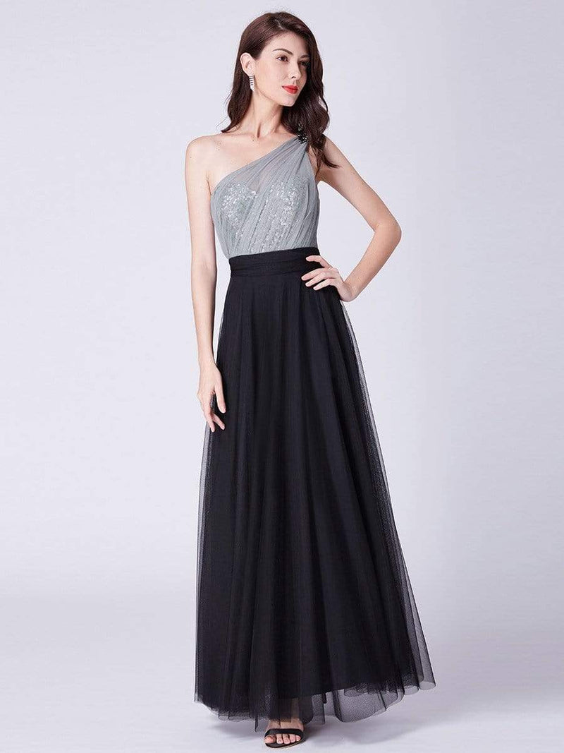 Long One Shoulder Tulle Party Dress-Black 4