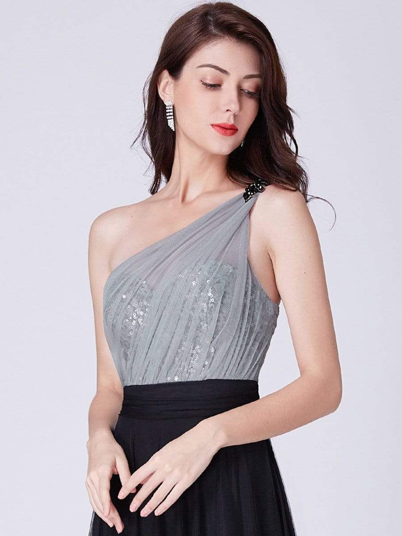 Long One Shoulder Tulle Party Dress-Black 5