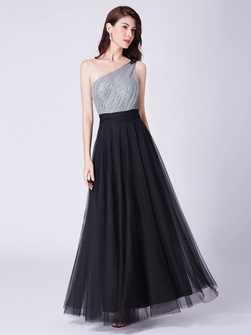 Long One Shoulder Tulle Party Dress-Black 1