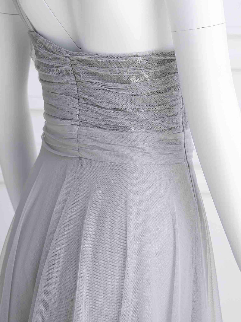 Long One Shoulder Tulle Party Dress-Grey 9