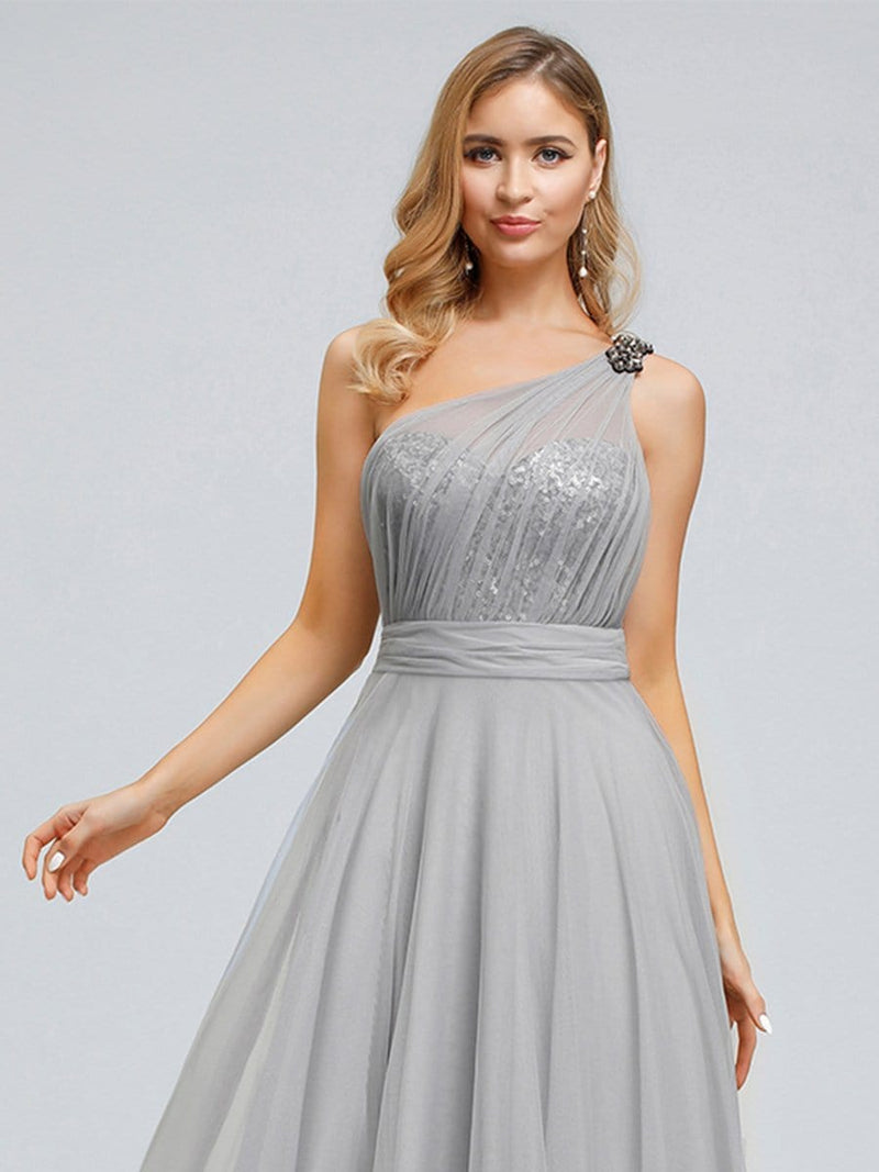 Long One Shoulder Tulle Party Dress-Grey 6
