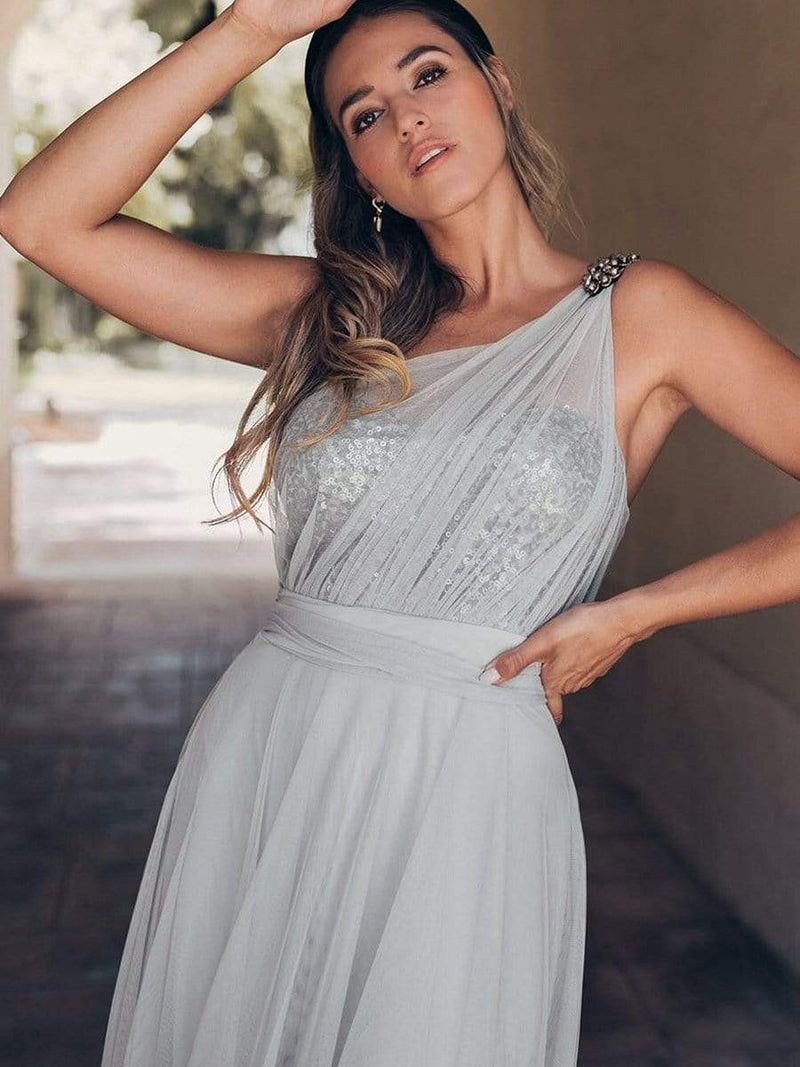 Long One Shoulder Tulle Party Dress-Grey 2