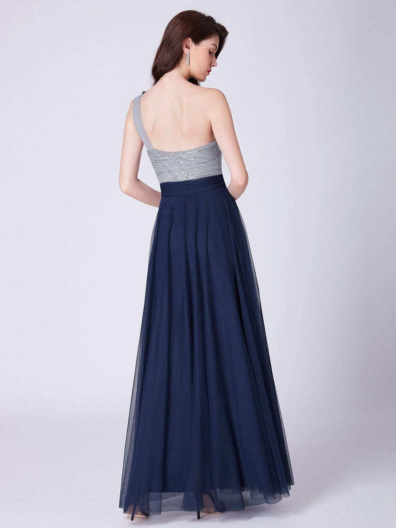 Long One Shoulder Tulle Party Dress-Navy Blue 6