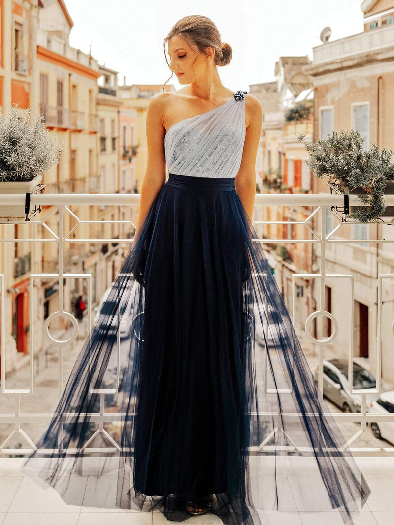 Long One Shoulder Tulle Party Dress-Navy Blue 1
