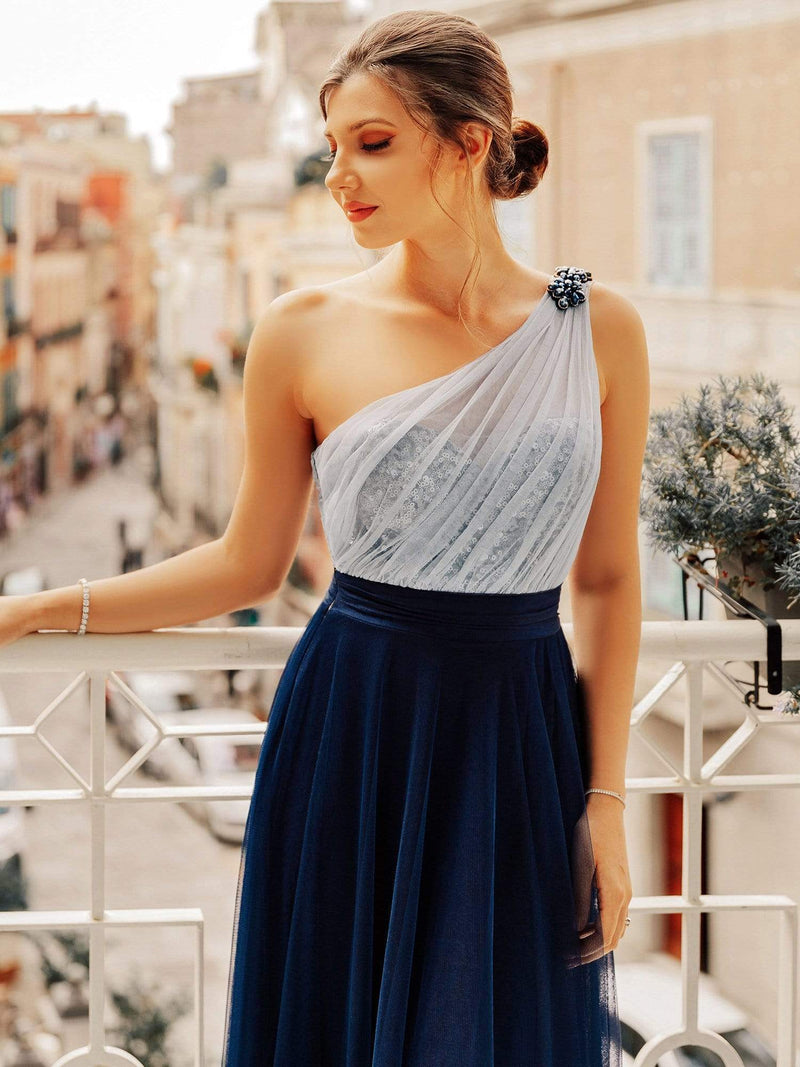 Long One Shoulder Tulle Party Dress-Navy Blue 4