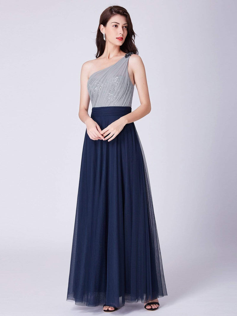 Long One Shoulder Tulle Party Dress-Navy Blue 12