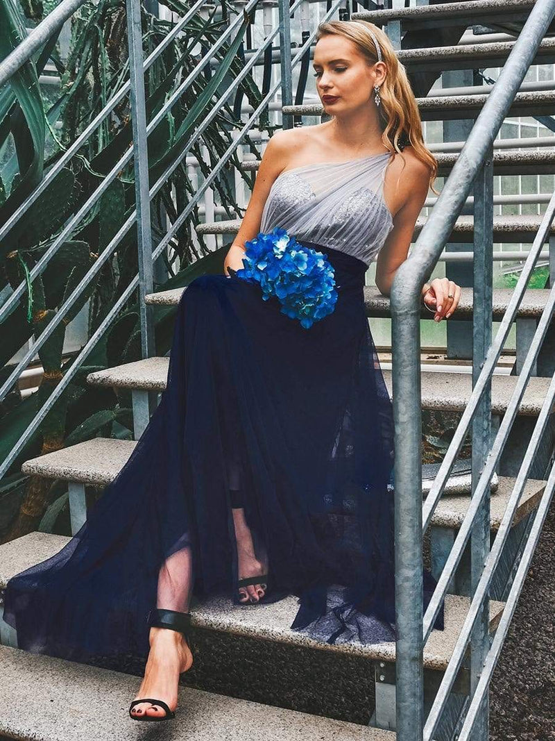 Long One Shoulder Tulle Party Dress-Navy Blue 7