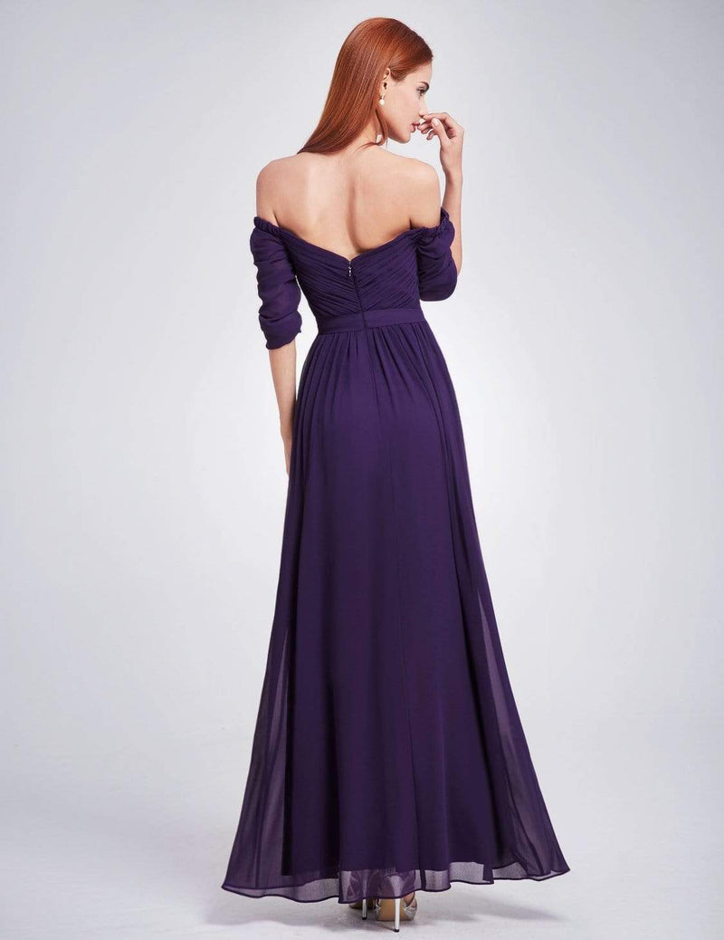 Off-The-Shoulder Evening Gown With Sweetheart Neckline-Dark Purple 1
