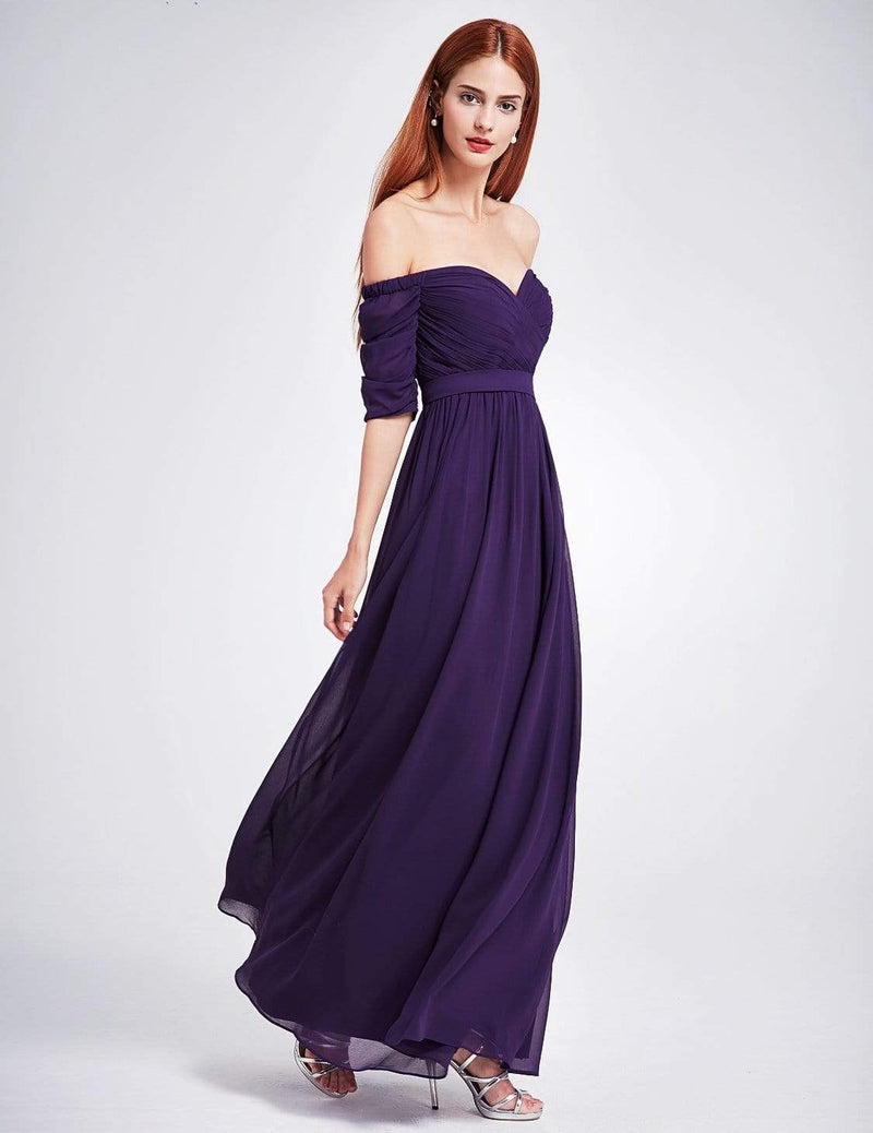 Off-The-Shoulder Evening Gown With Sweetheart Neckline-Dark Purple 3