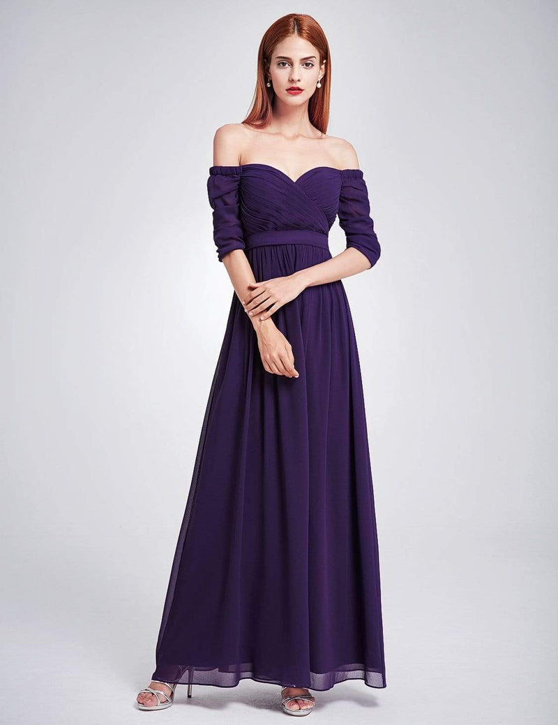 Off-The-Shoulder Evening Gown With Sweetheart Neckline-Dark Purple 2