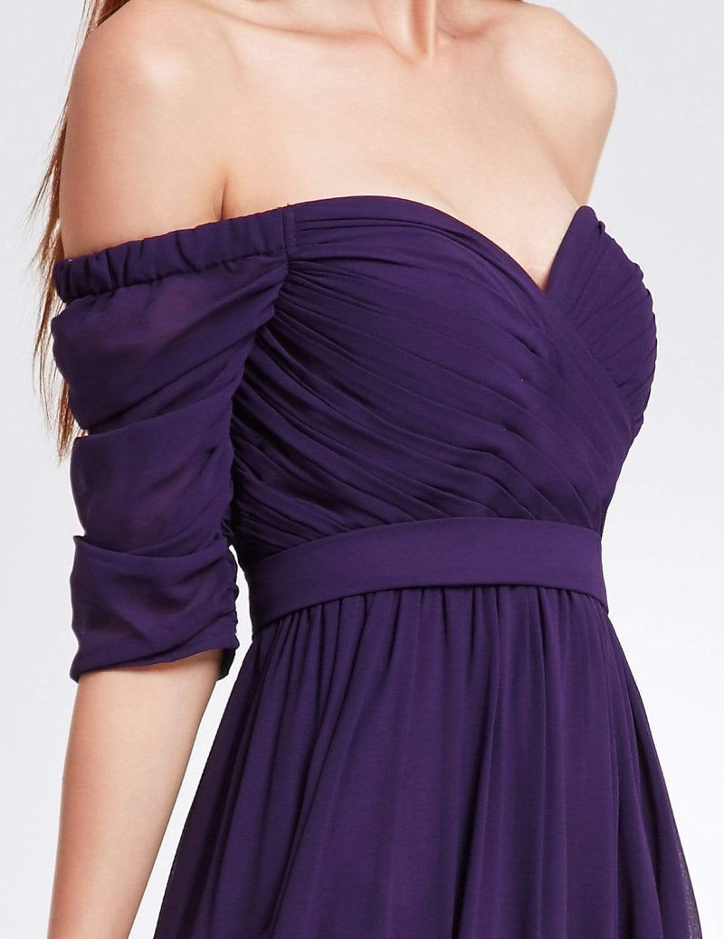 Off-The-Shoulder Evening Gown With Sweetheart Neckline-Dark Purple 4
