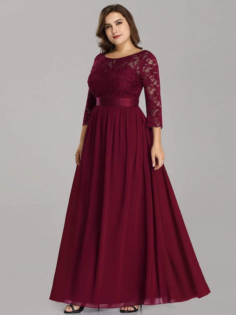 See-Through Floor Length Lace Dress With Half Sleeve-Burgundy 6