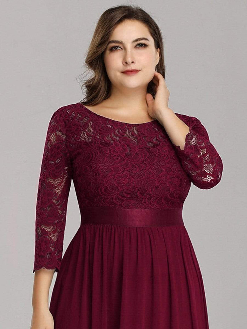 See-Through Floor Length Lace Dress With Half Sleeve-Burgundy 7