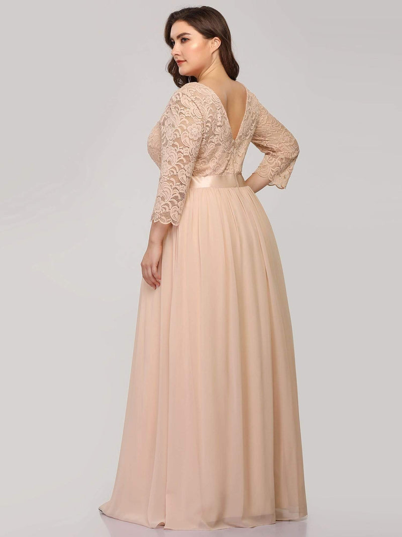 See-Through Floor Length Lace Dress With Half Sleeve-Blush 7
