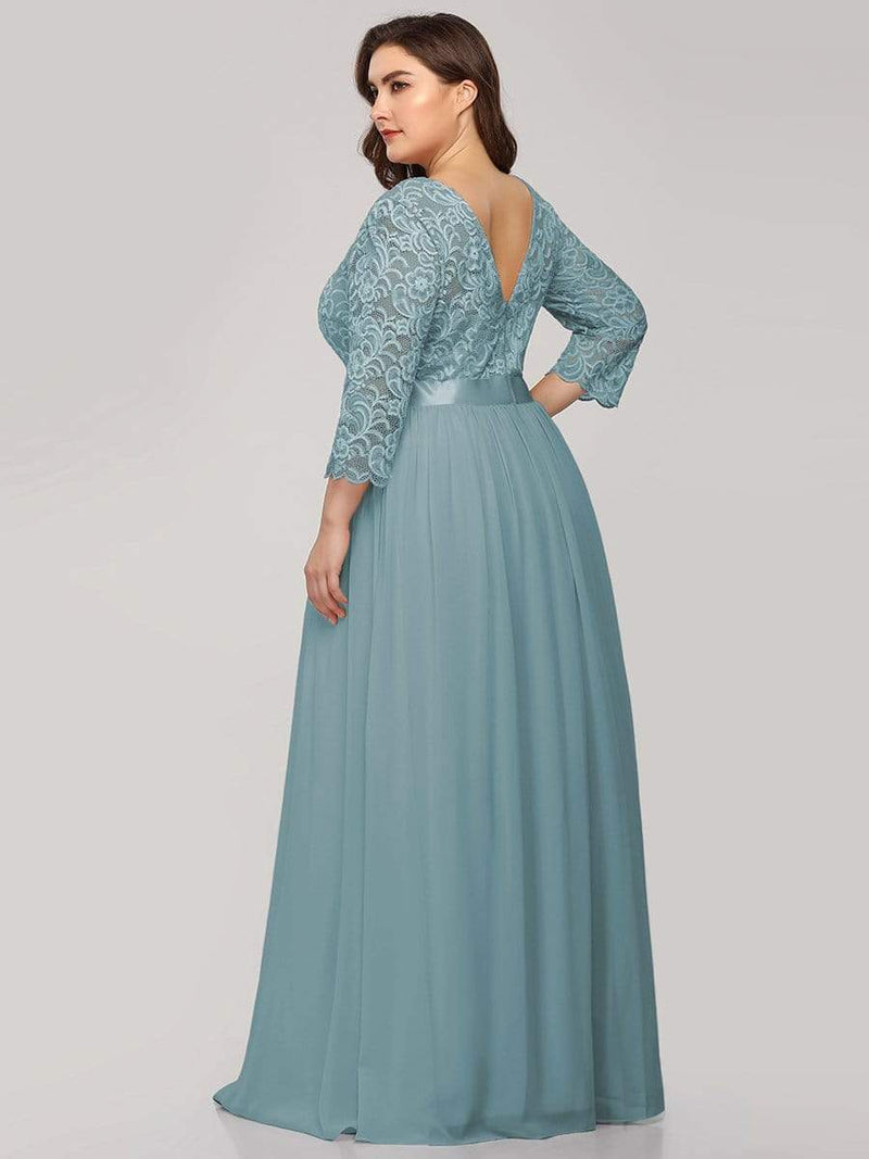 See-Through Floor Length Lace Dress With Half Sleeve-Dusty Blue 7