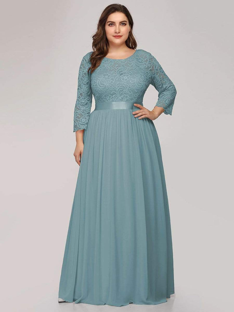 See-Through Floor Length Lace Dress With Half Sleeve-Dusty Blue 6