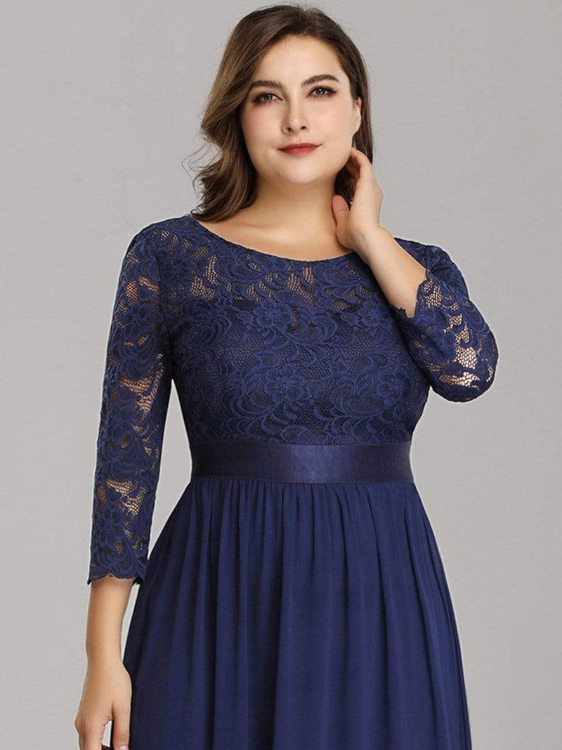 See-Through Floor Length Lace Evening Dress With Half Sleeve-Navy Blue 9