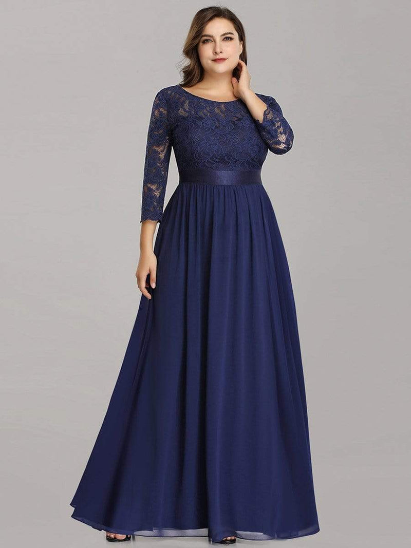 See-Through Floor Length Lace Evening Dress With Half Sleeve-Navy Blue 5
