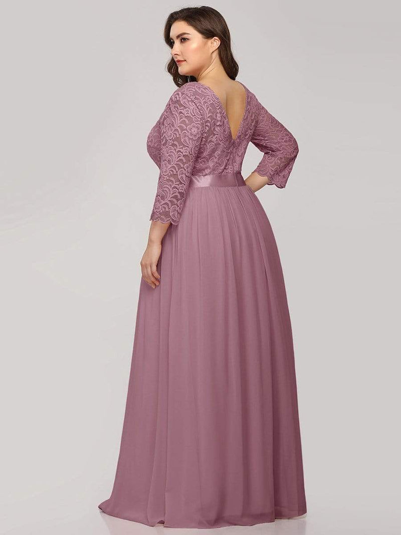 See-Through Floor Length Lace Dress With Half Sleeve-Purple Orchid 7