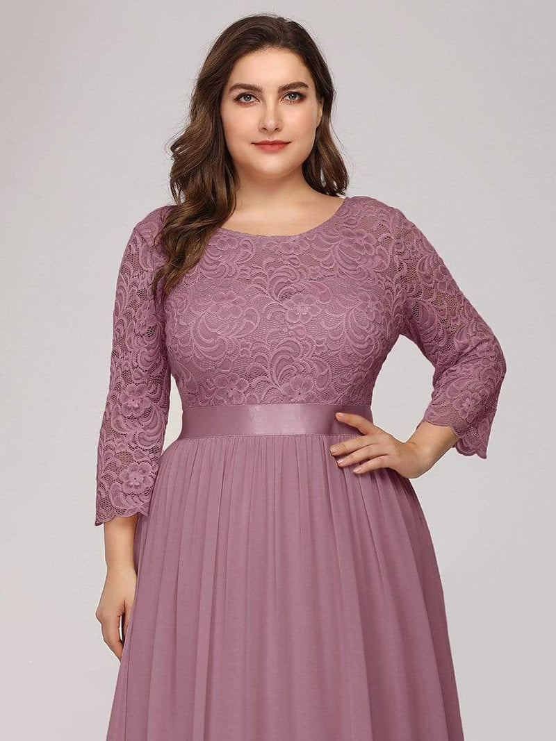 See-Through Floor Length Lace Dress With Half Sleeve-Purple Orchid 10