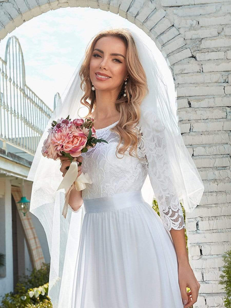 Simple Casual Lace & Chiffon Wedding Dress For Bridal-White 3
