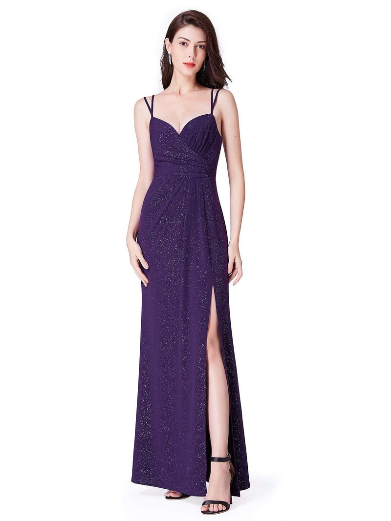 Floor Length Shimmery Evening Dress With Slit-Dark Purple 2