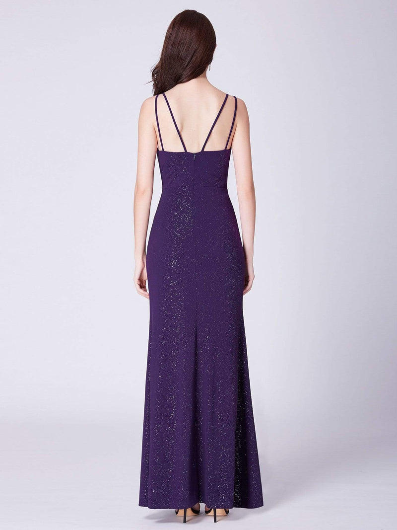 Floor Length Shimmery Evening Dress With Slit-Dark Purple 3