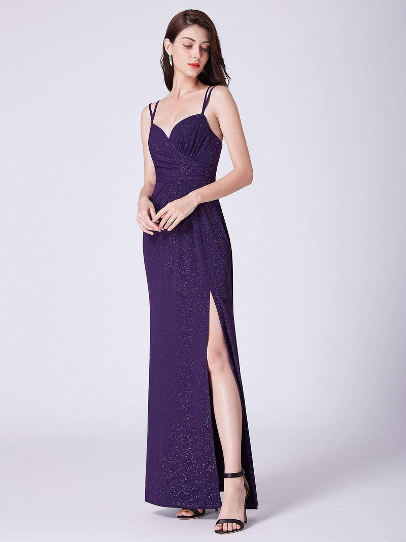 Floor Length Shimmery Evening Dress With Slit-Dark Purple 4