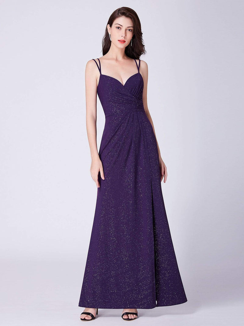 Floor Length Shimmery Evening Dress With Slit-Dark Purple 5
