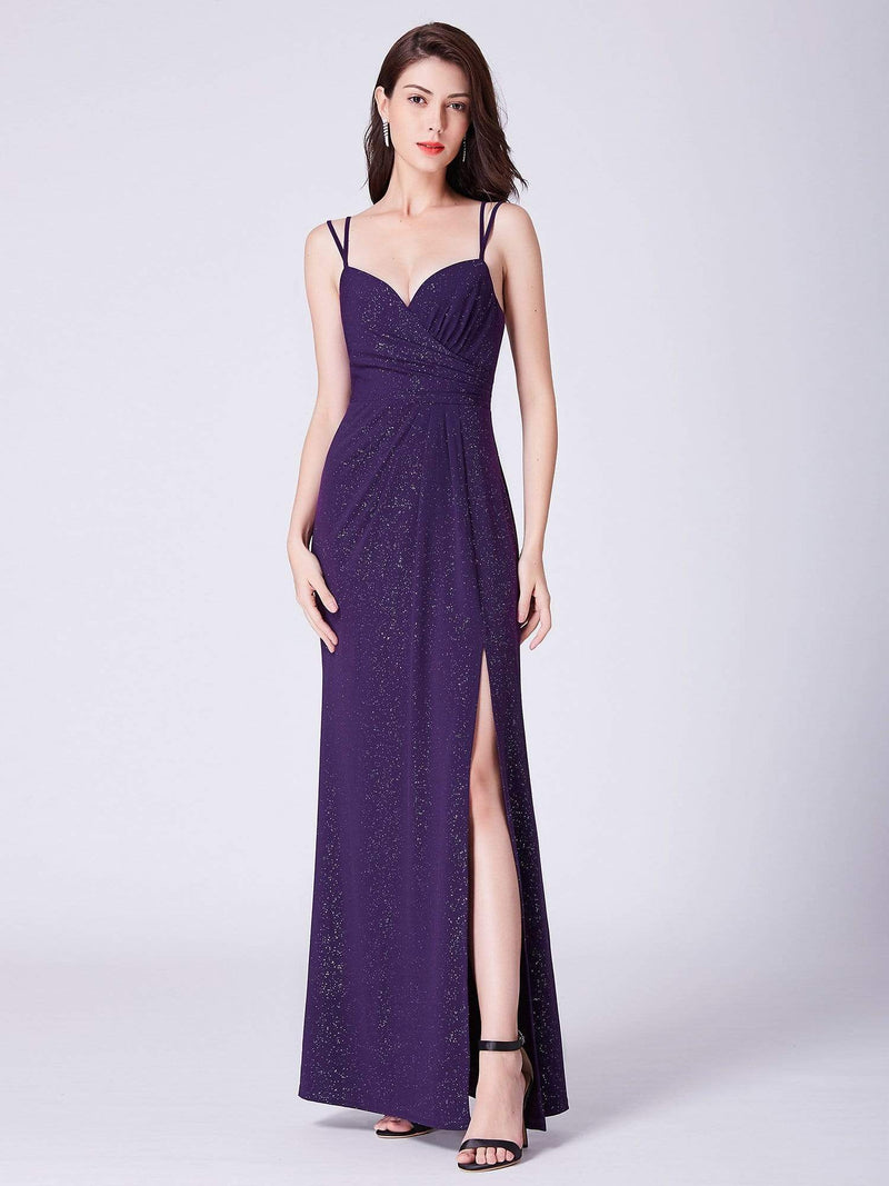Floor Length Shimmery Evening Dress With Slit-Dark Purple 1