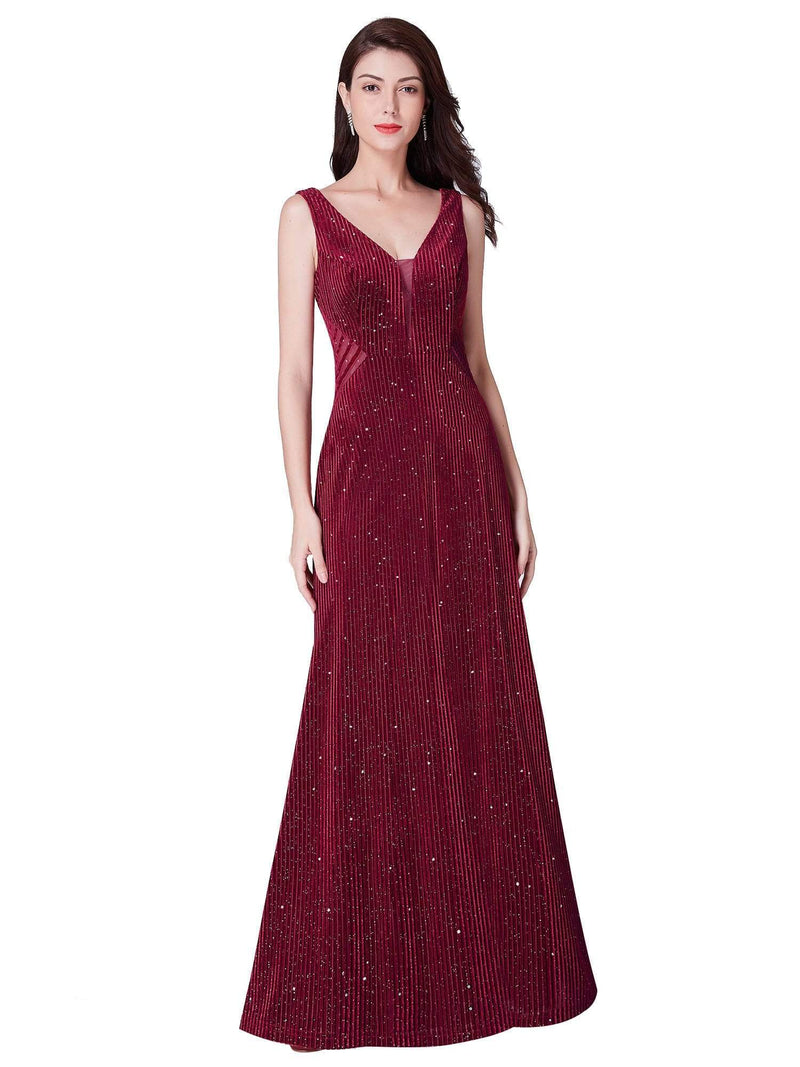 Shimmery Long Evening Dress With Sheer Panels-Burgundy 2