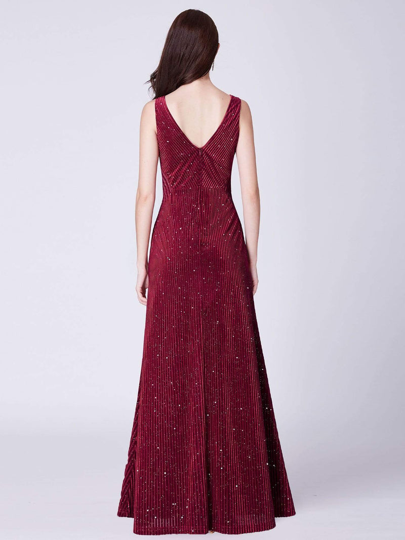 Shimmery Long Evening Dress With Sheer Panels-Burgundy 3