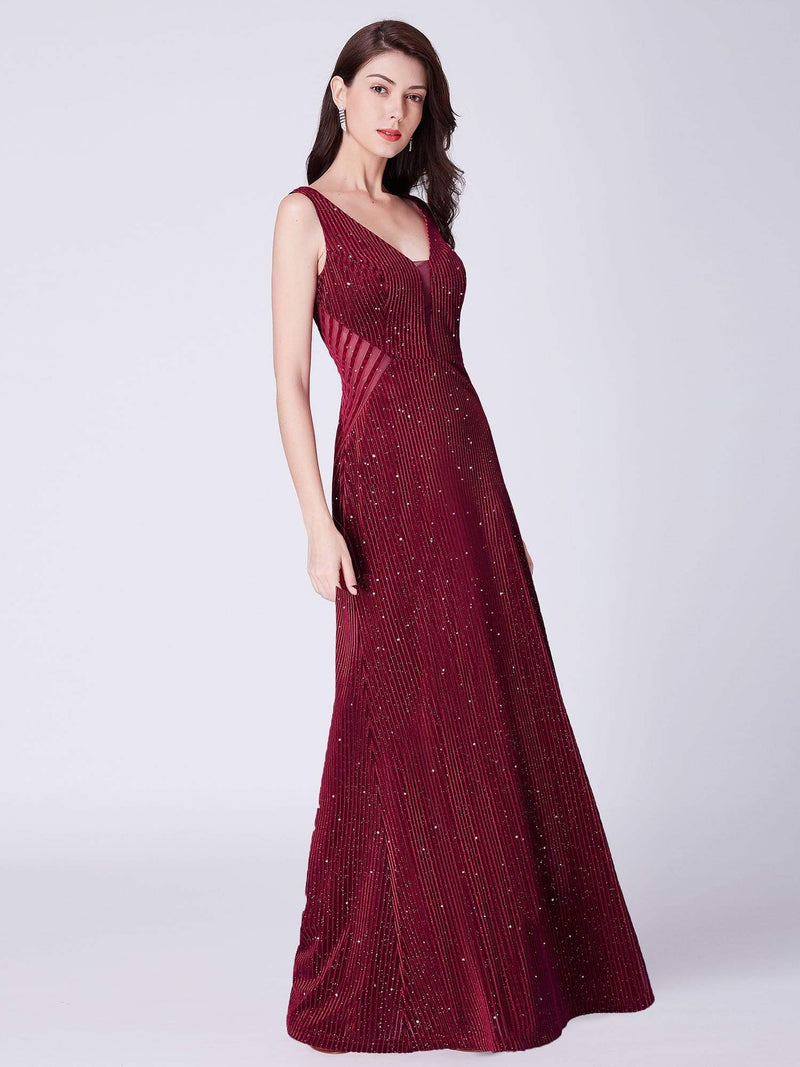 Shimmery Long Evening Dress With Sheer Panels-Burgundy 4