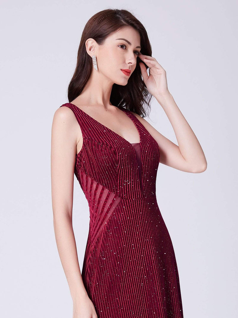 Shimmery Long Evening Dress With Sheer Panels-Burgundy 5