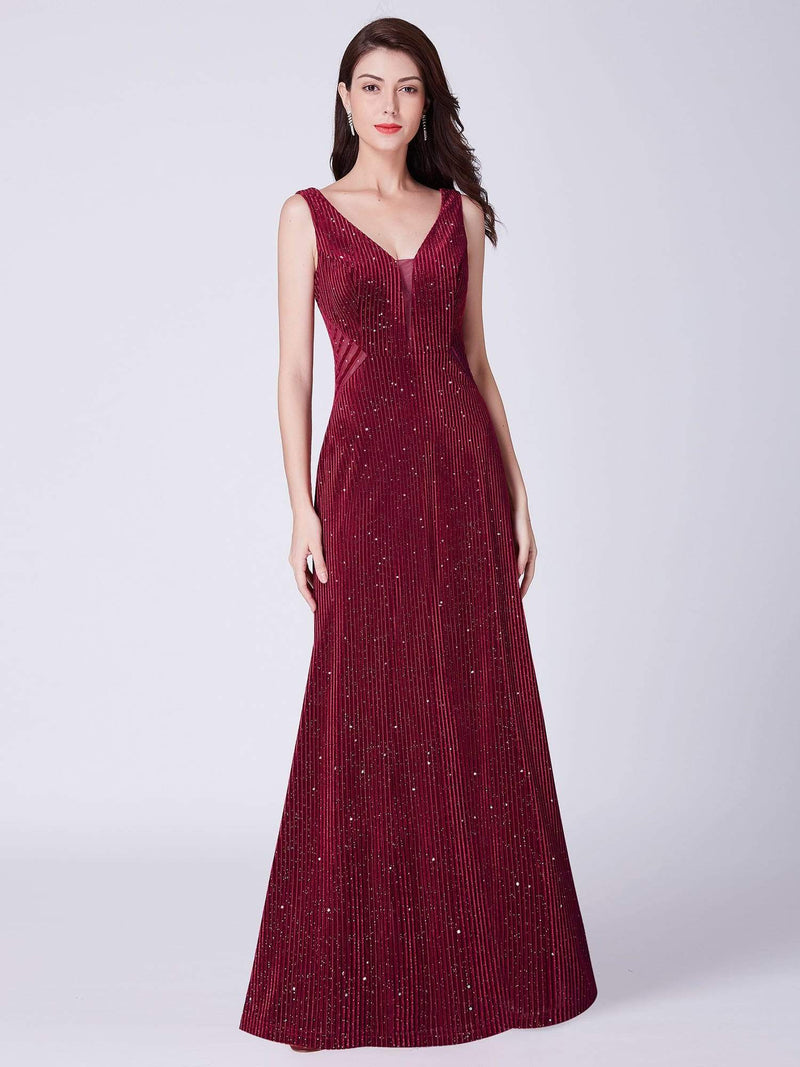 Shimmery Long Evening Dress With Sheer Panels-Burgundy 1