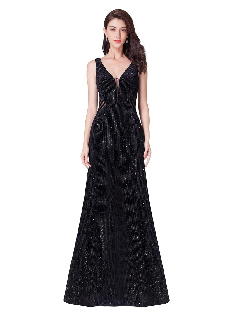Shimmery Long Evening Dress With Sheer Panels-Black 2