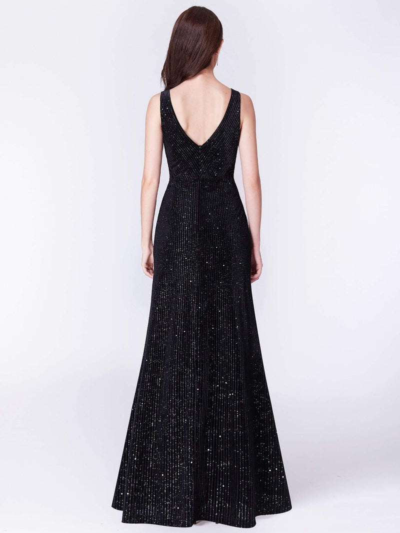 Shimmery Long Evening Dress With Sheer Panels-Black 3