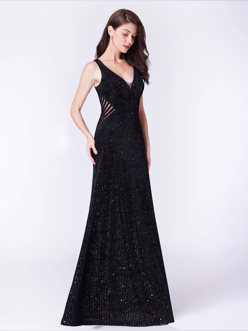 Shimmery Long Evening Dress With Sheer Panels-Black 4