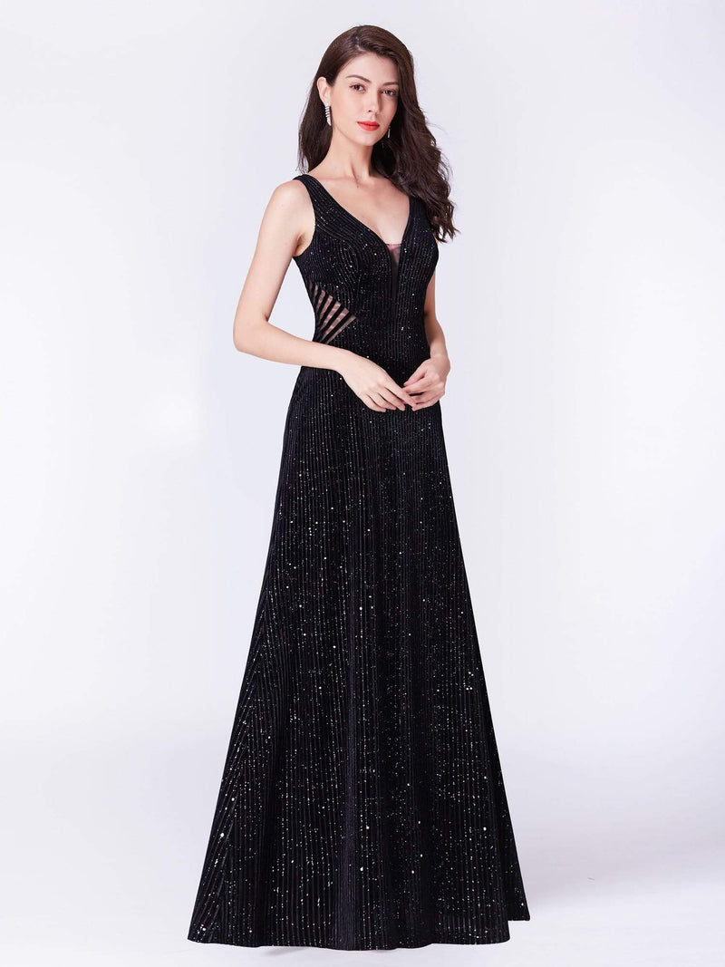 Shimmery Long Evening Dress With Sheer Panels-Black 5