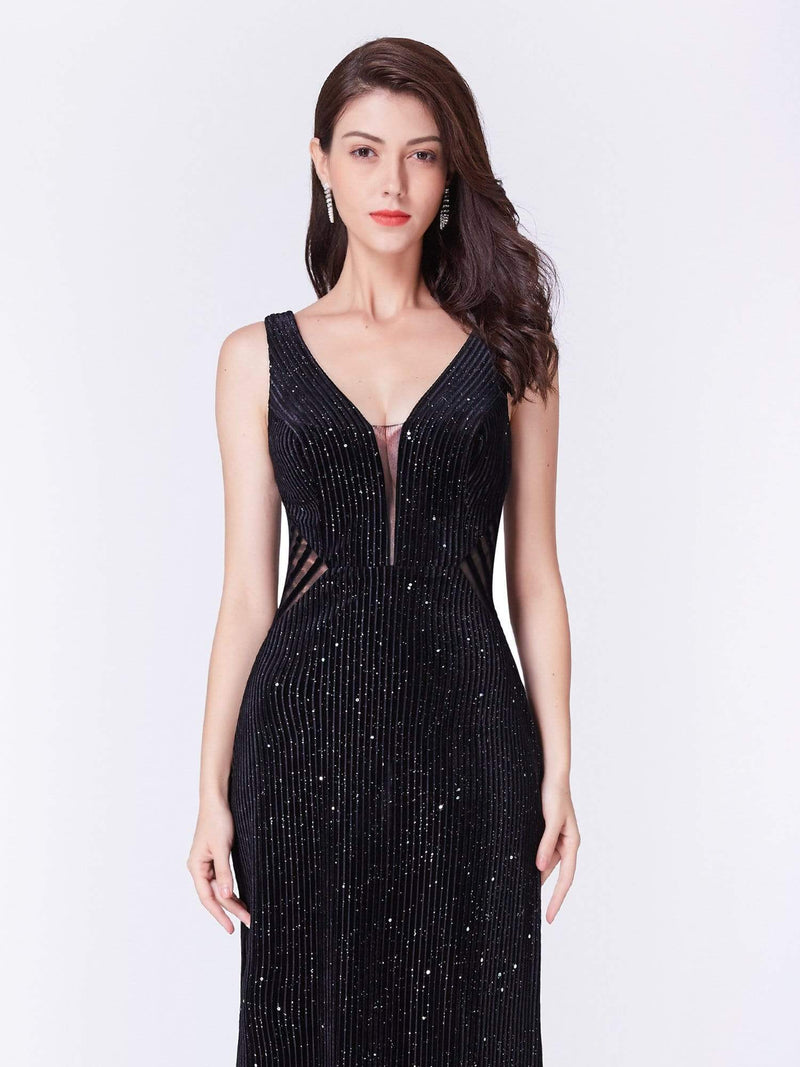 Shimmery Long Evening Dress With Sheer Panels-Black 6