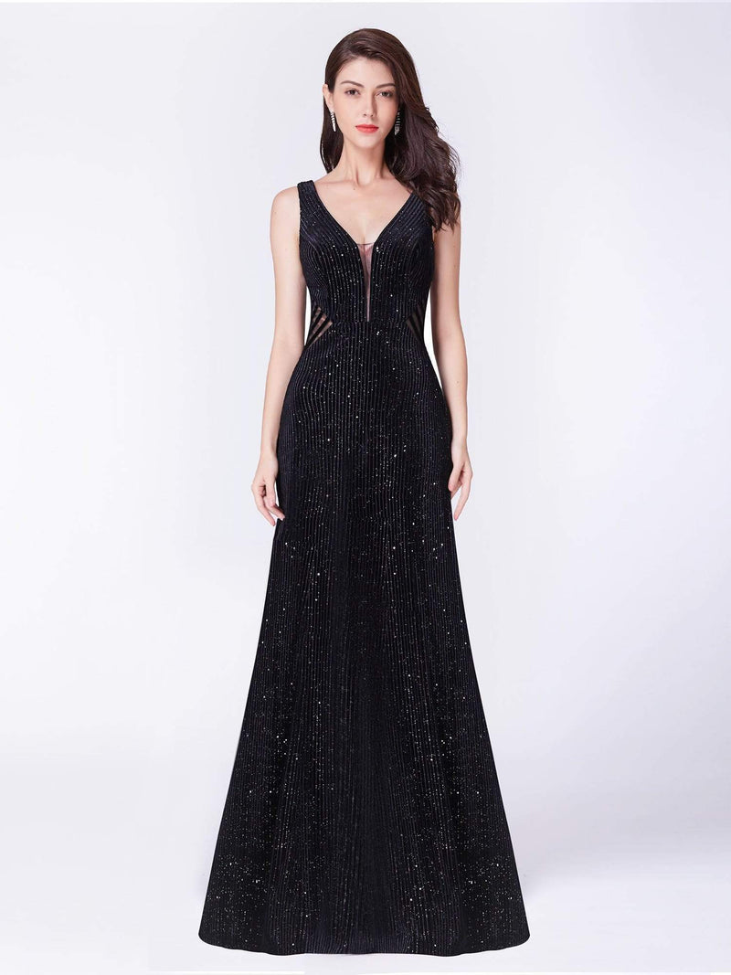 Shimmery Long Evening Dress With Sheer Panels-Black 1
