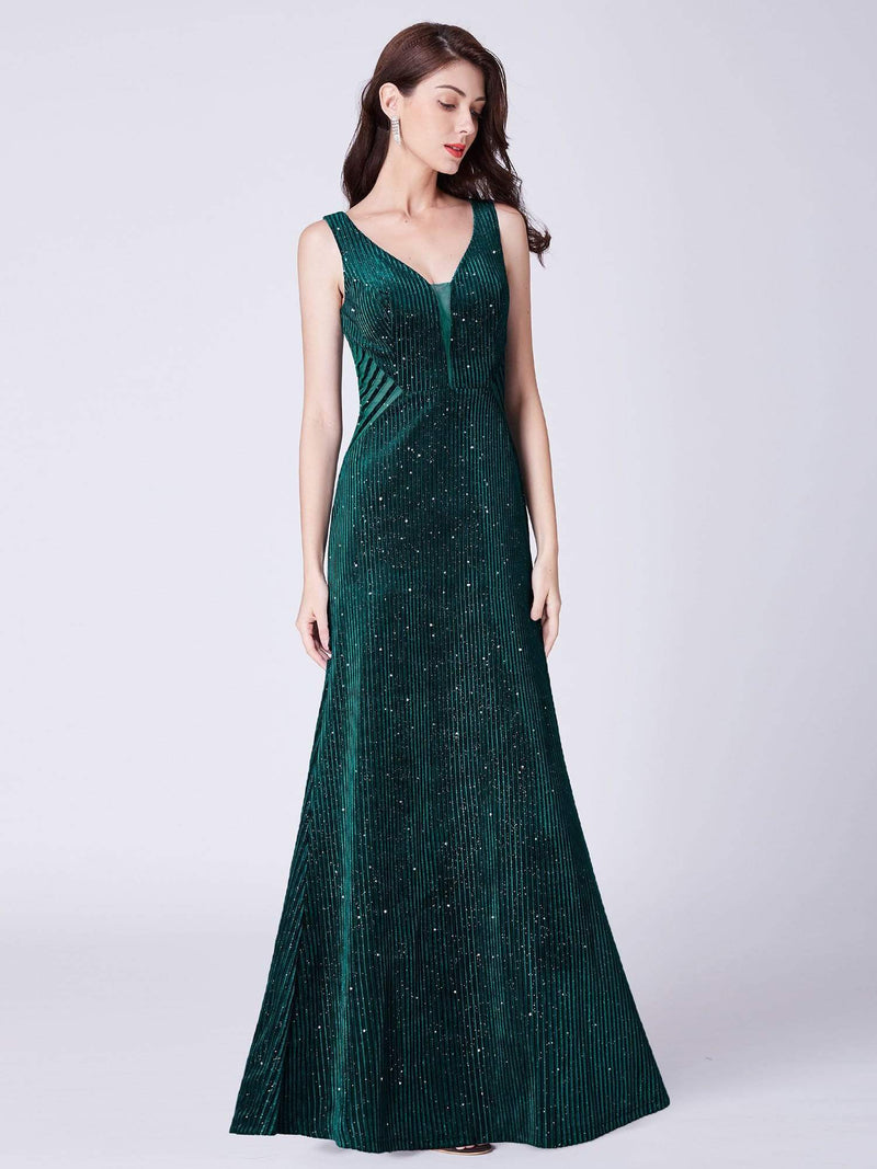 Shimmery Long Evening Dress With Sheer Panels-Dark Green 1