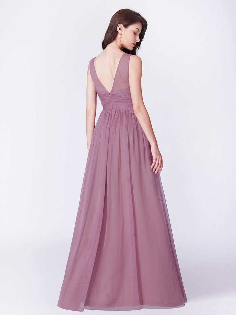 V Neck Long A Line Party Dress-Purple Orchid 2
