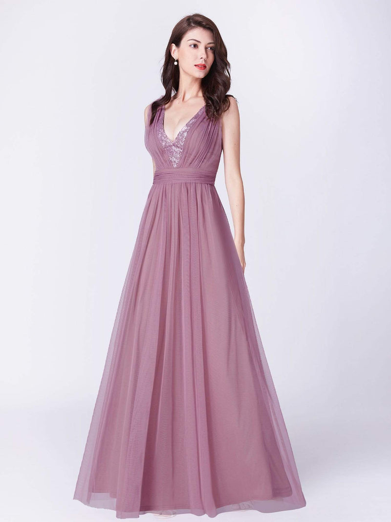 V Neck Long A Line Party Dress-Purple Orchid 1