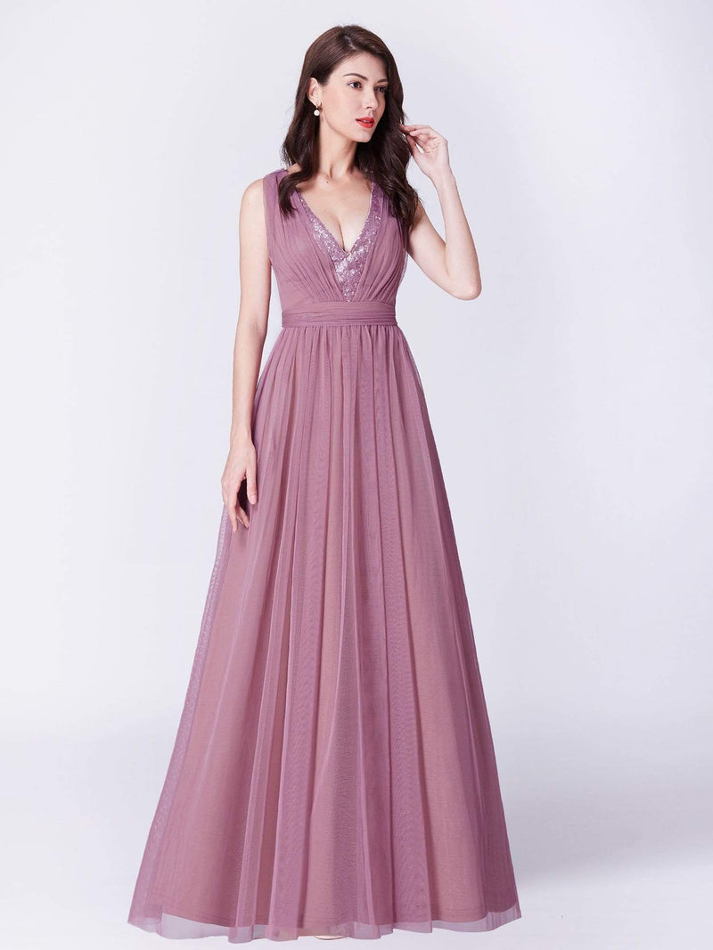 V Neck Long A Line Party Dress-Purple Orchid 3