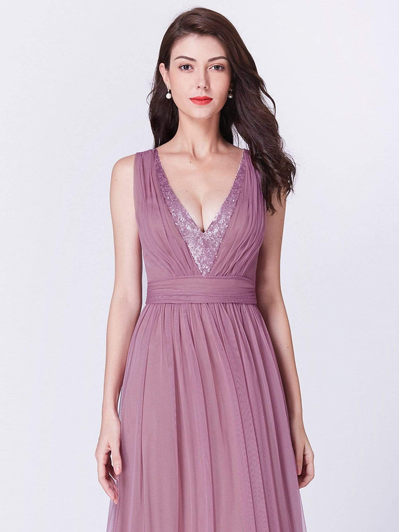V Neck Long A Line Party Dress-Purple Orchid 5