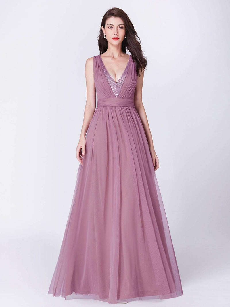 V Neck Long A Line Party Dress-Purple Orchid 4